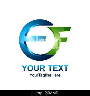 Initial letter EF logo template colored blue green circle design for business and company identity - Stock Photo