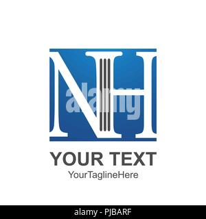 Initial letter NH logo template colored blue square design for business and company identity - Stock Photo