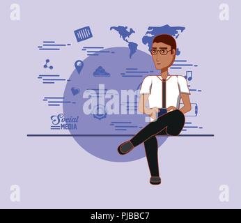 man holds smartphone and applications social media vector illustration - Stock Photo