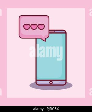 smartphone chat love hearts online dating vector illustration