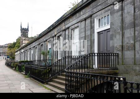 Terraced houses on Blenheim Place near Royal Terrace in Edinburgh, Scotland, UK - Stock Photo