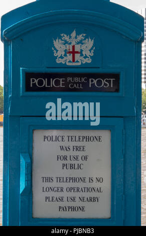 vintage or hiistoric police public call box or post in central london. out of use police call box. - Stock Photo