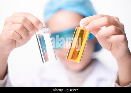 Closeup Portrait of Food Researcher Examination Activity of Bio Plant Seedlings in Nursery Laboratory, Botanist Lab Scientists Doing Biological Test o - Stock Photo