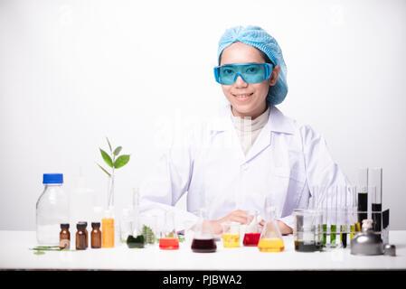 A girl technician scientist in a medical laboratory - Stock Photo