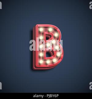Realistic font character with lamps, vector illustration - Stock Photo