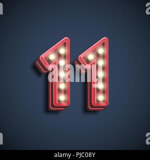 Realistic number character with lamps, vector illustration - Stock Photo