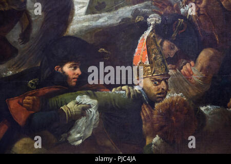 Wounded Russian soldiers depicted in the detail of the large scale painting 'Napoléon on the Battlefield of Eylau' by French neoclassical painter Antoine-Jean Gros (1808) on display in the Louvre Museum in Paris, France. - Stock Photo