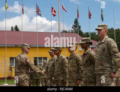 Yavoriv, Ukraine - Class 703-2018 Basic Leadership Course instructed by 7th Army Training Command non-commissioned officers complete a graduation ceremony at the Yavoriv Combat Training Center (CTC) July 11. The 5 instructors were each given an award and challenge coin by the 27th Infantry Brigade Combat Team (forward) Command Sgt. Maj. Marc Maynard of Rochester, NY, for their professionalism and execution of their course. - Stock Photo
