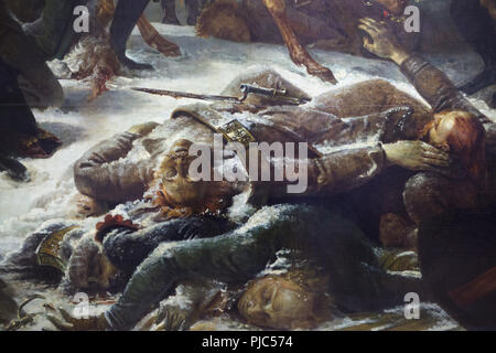 Dead and wounded Russian soldiers depicted in the detail of the large scale painting 'Napoléon on the Battlefield of Eylau' by French neoclassical painter Antoine-Jean Gros (1808) on display in the Louvre Museum in Paris, France. - Stock Photo