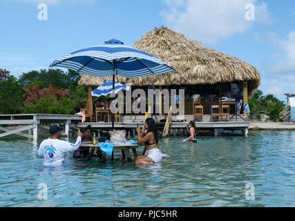 Palapa Bar Belize, Secret Beach, Ambergris Caye - Stock Photo