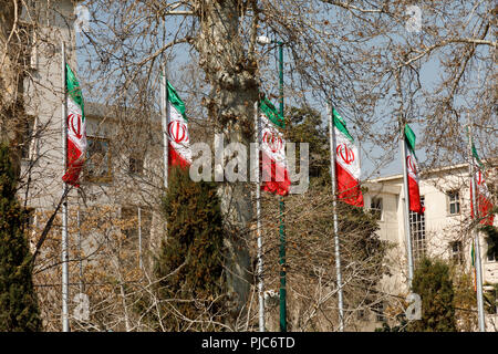 Islamic Republic of Iran. Iranian Flags. - Stock Photo