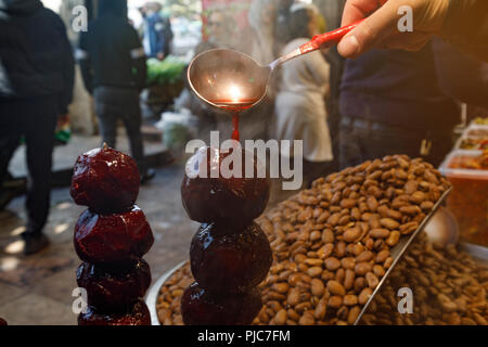 Islamic Republic of Iran. Tehran Bazaar. Household items or edibles for sale. Fresh cooked Beets. - Stock Photo