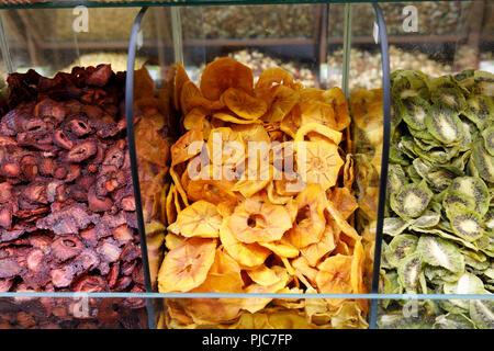 Islamic Republic of Iran. Tehran Bazaar. Dried fruit edibles for sale. - Stock Photo