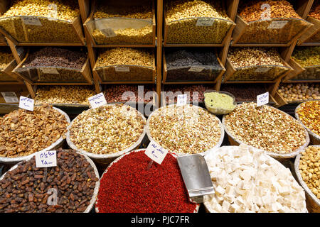Islamic Republic of Iran. Tehran Bazaar. Dried Legumes, nuts and fruit edibles for sale. - Stock Photo