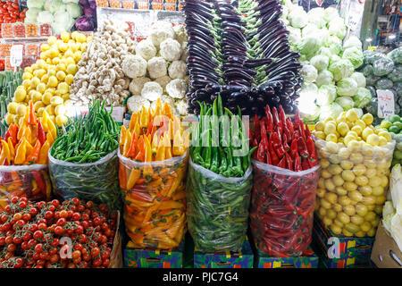 Islamic Republic of Iran. Tehran Bazaar. Household items or fruit, vegetable edibles for sale. - Stock Photo