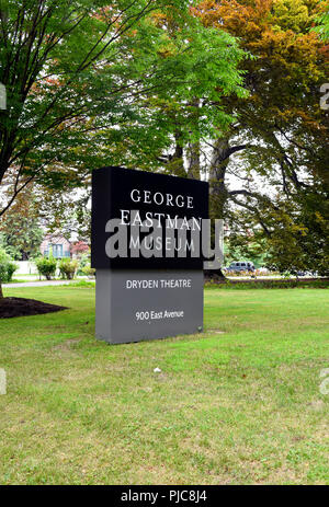 The exterior sign at the front entrance of the George Eastman House in Rochester, New York. - Stock Photo