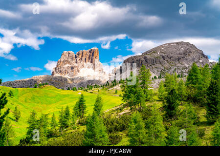 Beautiful landscape in summer of Mount Averau of the Italian Dolomites with the green grassy field and yellow flowers at Passo Falzarego, Veneto Italy - Stock Photo