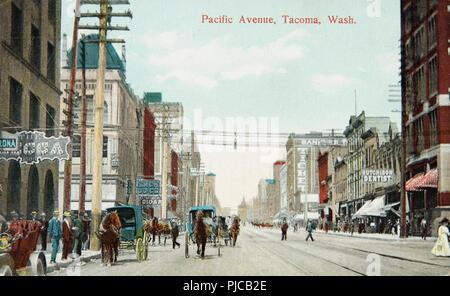 Pacific Avenue, Tacoma Washington USA, antique postcard, 1910's - Stock Photo