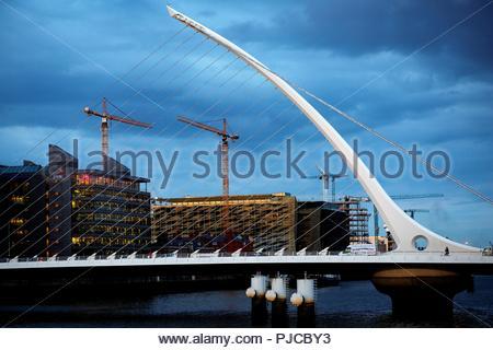 A blue sky just before dark over the Samuel Beckett bridge in Dublin, Ireland. - Stock Photo
