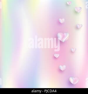 Abstract gradient rainbow foil background, bright holographic effect, with colorful hearts. Vector illustration for romantic greetings, wedding - Stock Photo