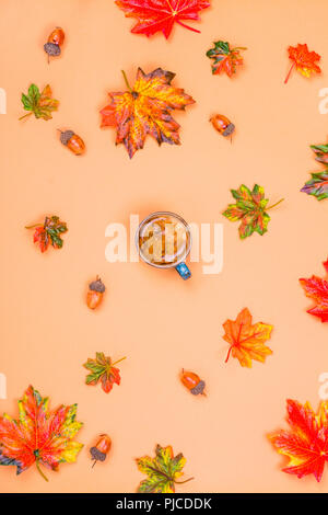 Autumn composition, coffee, leaves - Stock Photo