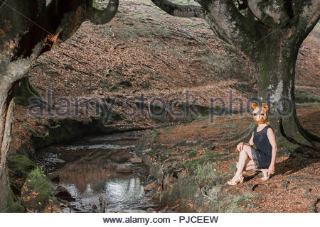 The tiger in the woods. Woman with papercraft mask - Stock Photo