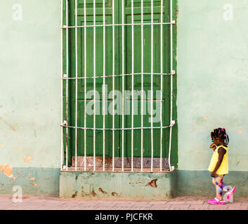 A typical view in Trinidad in Cuba - Stock Photo