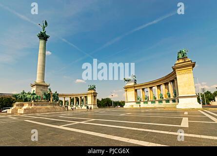 Hero's Square in Budapest, Hungary - Stock Photo