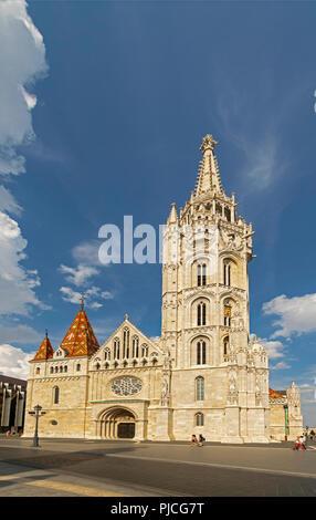 Matyas Church (Matthias Church) at Fishermans Bastion in Budapest - Stock Photo