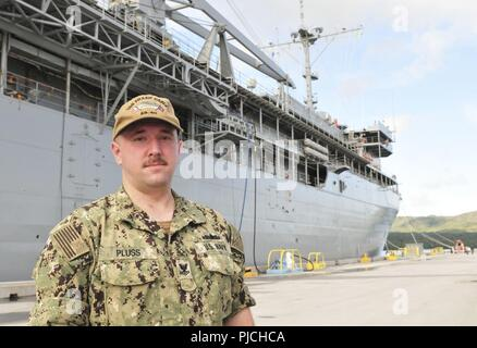 SANTA RITA, Guam (July 18, 2018) -- Electrician's Mate (Nuclear) 2nd Class Andrew Pluss stands in front of Guam-based submarine tender USS Frank Cable (AS 40) aboard U.S. Naval Base Guam in Santa Rita July 18. Pluss rendered aid to the victim of an auto-pedestrian crash in Guam July 16. - Stock Photo