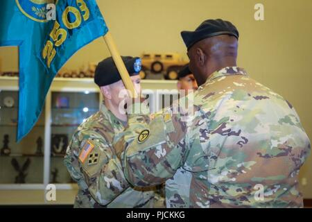 (From right to left) Col. Oscar W. Doward Jr., outgoing commander of the 2503rd Digital Liaison Detachment, passes the unit colors to Maj. Gen. David C. Hill, deputy commanding general, U.S. Army Central, during a change-of-command ceremony July 19, 2018, at Patton Hall on Shaw Air Force Base, S.C. - Stock Photo
