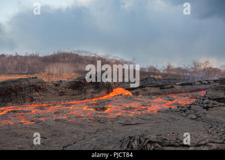 a river of lava flows through Kapoho, Hawaii after erupting from fissure 8 of the Kilauea Volcano east rift zone in Leilani Estates near Pahoa - Stock Photo