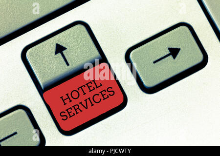 Conceptual hand writing showing Hotel Services. Business photo text Facilities Amenities of an accommodation and lodging house. - Stock Photo
