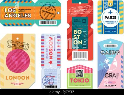 Set of luggage label tag registered. - Stock Photo