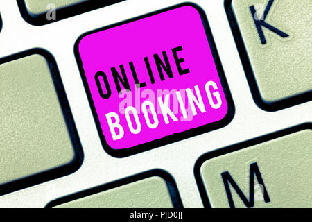 Handwriting text Online Booking. Concept meaning Reservation through internet Hotel accommodation Plane ticket. - Stock Photo