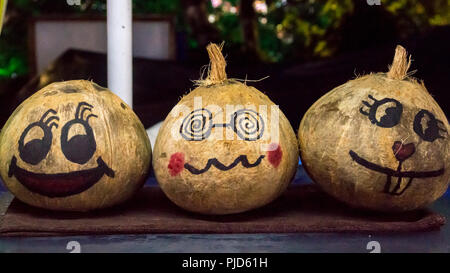 Emoji painted on coconuts sold at the Asian market - Stock Photo