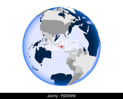 Honduras highlighted in red on political globe with transparent oceans. 3D illustration isolated on white background. - Stock Photo