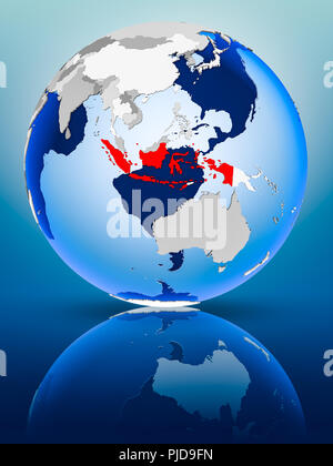 Indonesia on political globe standing on reflective surface. 3D illustration. - Stock Photo