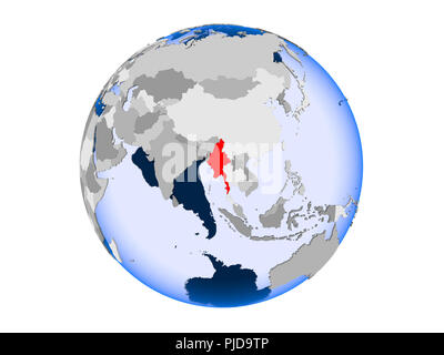 Myanmar highlighted in red on political globe with transparent oceans. 3D illustration isolated on white background. - Stock Photo