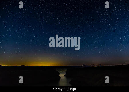 Starry Sky over Lake Billy Chinook, Oregon - Stock Photo