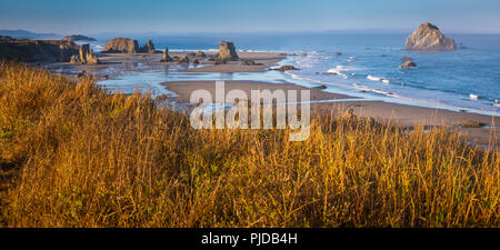 Arches, seastacks, and rocks at Band.on Beach, Oregon. - Stock Photo