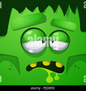 Frankenstein characters. Halloween face illustration. - Stock Photo