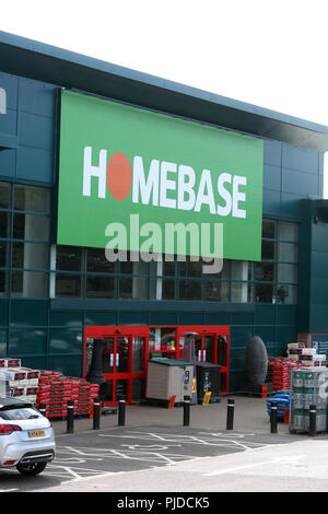 Homebase DIY Store in Chichester, West Sussex, UK. This site was a Homebase, then a Bunnings, now it's a Homebase again. - Stock Photo