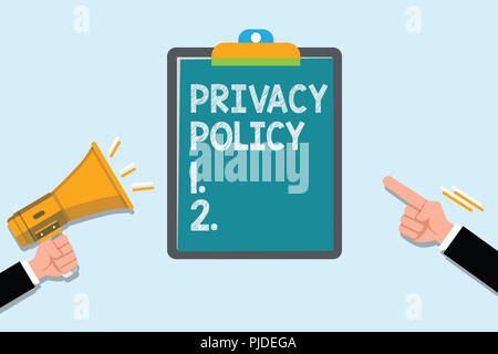 Conceptual hand writing showing Privacy Policy. Business photo text Document that explains how an organization handles clients. - Stock Photo