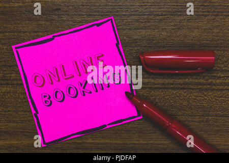 Handwriting text Online Booking. Concept meaning Reservation through internet Hotel accommodation Plane ticket Pink Paper Important reminder Communica - Stock Photo
