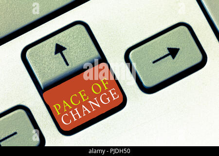 Handwriting text Pace Of Change. Concept meaning Shift in normal routine Variation in usual activities. - Stock Photo