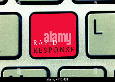Word writing text Rapid Response. Business concept for Medical emergency team Quick assistance during disaster. - Stock Photo