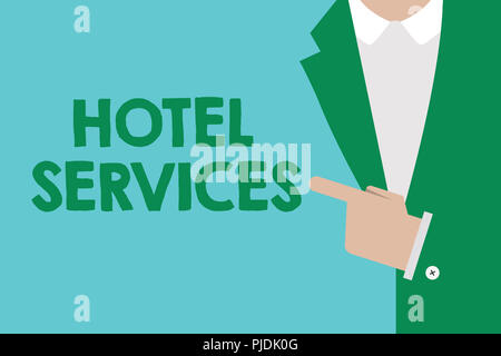 Conceptual hand writing showing Hotel Services. Business photo showcasing Facilities Amenities of an accommodation and lodging house. - Stock Photo