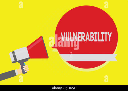 Handwriting text Vulnerability. Concept meaning State of being exposed to the possibility of being attacked Man holding megaphone loudspeaker red spee - Stock Photo