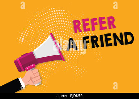 Word writing text Refer A Friend. Business concept for Recommendation Appoint someone qualified for the task. - Stock Photo